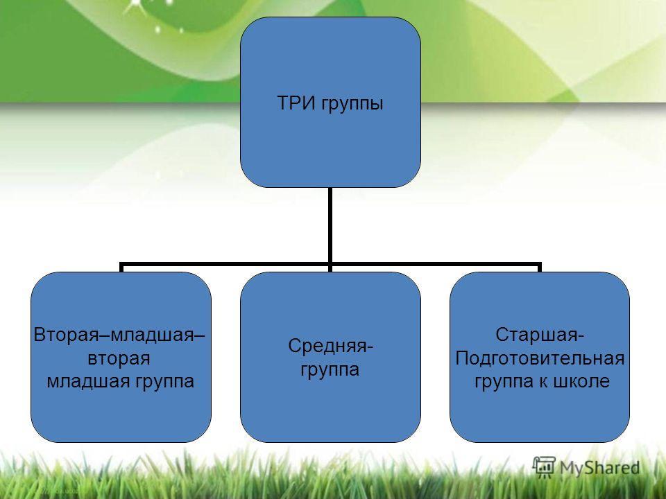 ТРИ группы Вторая–младшая– вторая младшая группа Средняя- группа Старшая- Подготовительная группа к школе
