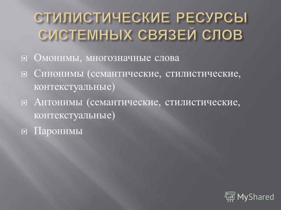 Омонимы, многозначные слова Синонимы ( семантические, стилистические, контекстуальные ) Антонимы ( семантические, стилистические, контекстуальные ) Паронимы