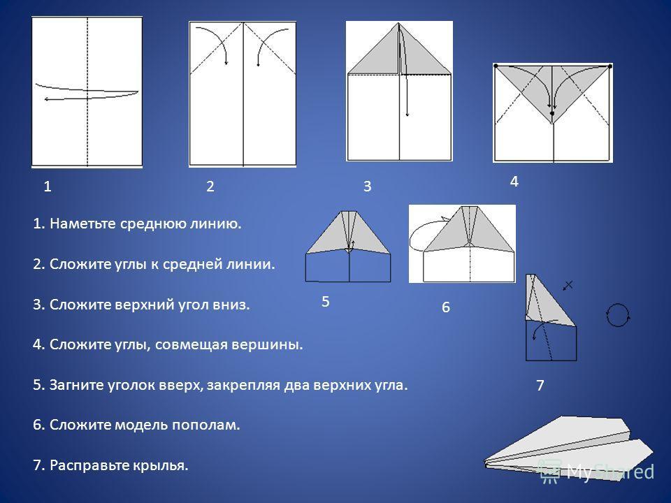 123 4 5 6 7 1. Наметьте среднюю линию. 2. Сложите углы к средней линии. 3. Сложите верхний угол вниз. 4. Сложите углы, совмещая вершины. 5. Загните уголок вверх, закрепляя два верхних угла. 6. Сложите модель пополам. 7. Расправьте крылья.