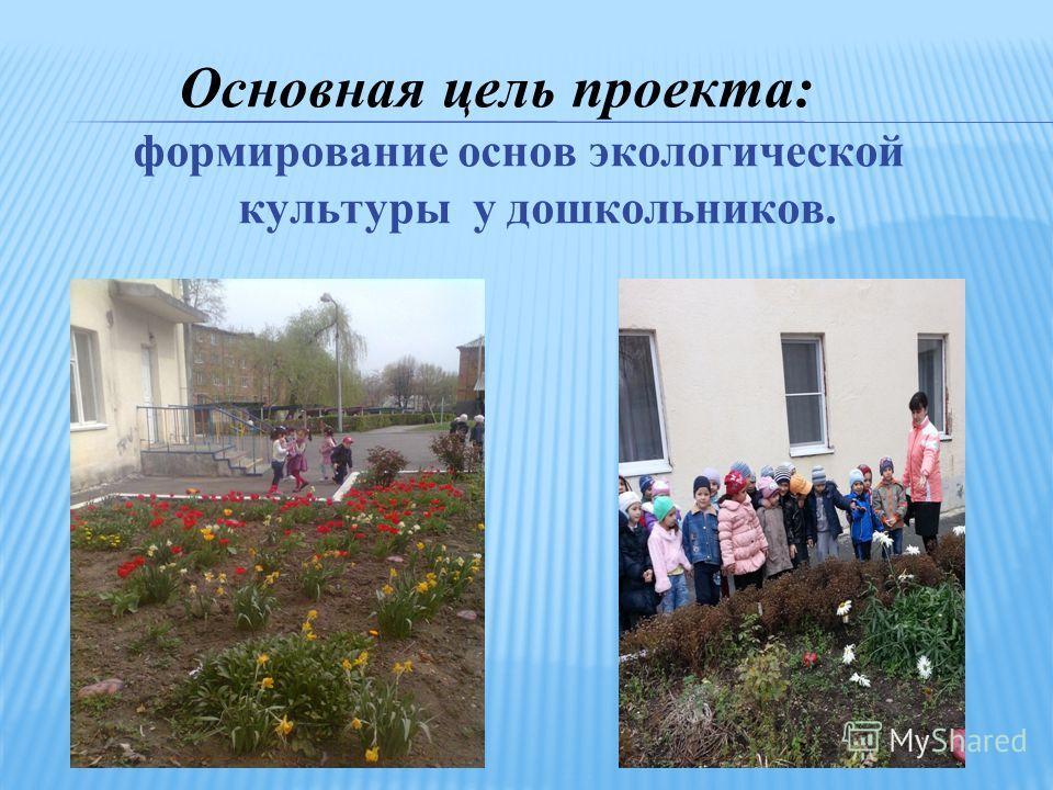 Основная цель проекта: формирование основ экологической культуры у дошкольников.