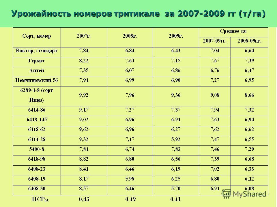 Урожайность номеров тритикале за 2007-2009 гг (т/га)