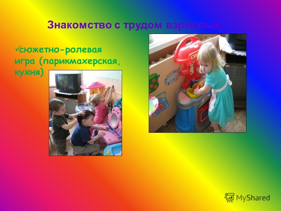 Знакомство с трудом взрослых: сюжетно-ролевая игра (парикмахерская, кухня)