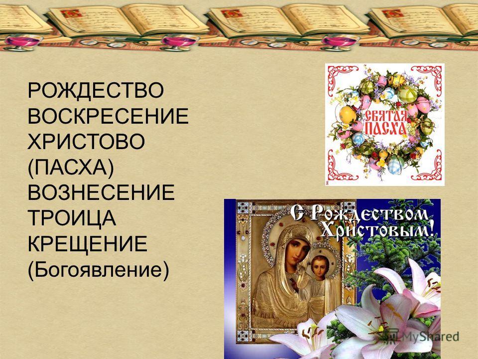 РОЖДЕСТВО ВОСКРЕСЕНИЕ ХРИСТОВО (ПАСХА) ВОЗНЕСЕНИЕ ТРОИЦА КРЕЩЕНИЕ (Богоявление)