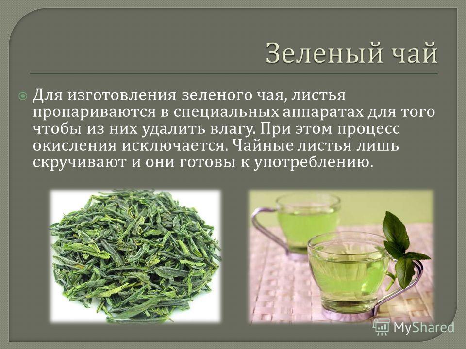 Для изготовления зеленого чая, листья пропариваются в специальных аппаратах для того чтобы из них удалить влагу. При этом процесс окисления исключается. Чайные листья лишь скручивают и они готовы к употреблению.
