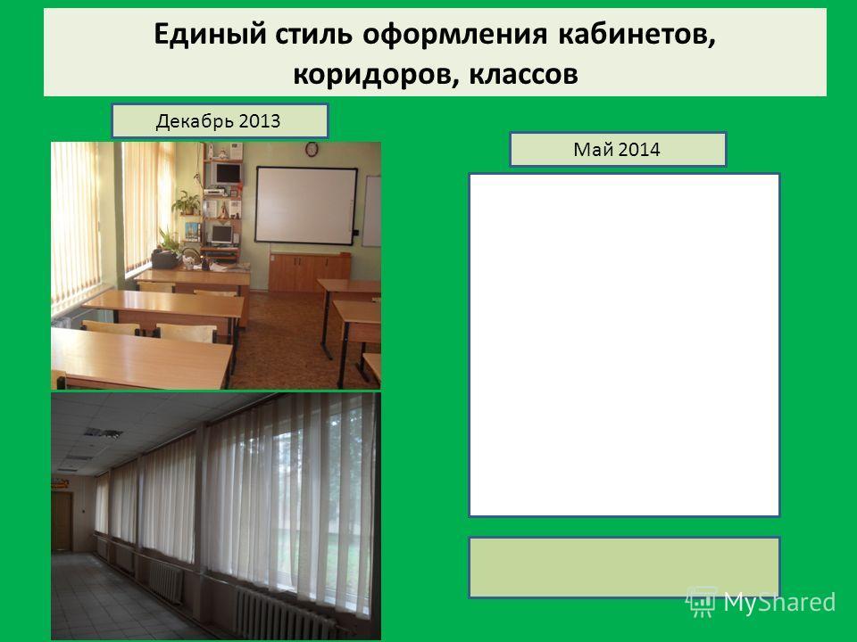 Единый стиль оформления кабинетов, коридоров, классов Декабрь 2013 Май 2014