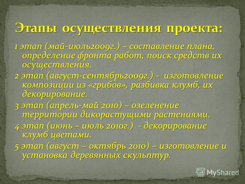 1 этап (май-июль 2009 г.) – составление плана, определение фронта работ, поиск средств их осуществления. 2 этап (август-сентябрь 2009 г.) - изготовление композиции из «грибов», разбивка клумб, их декорирование. 3 этап (апрель-май 2010) – озеленение т