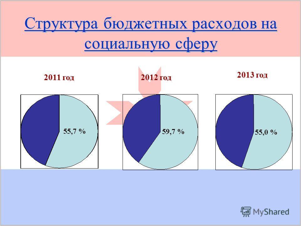 Структура бюджетных расходов на социальную сферу 59,7 % 55,0 % 2012 год 2012 год 2013 год 2011 год 55,7 %