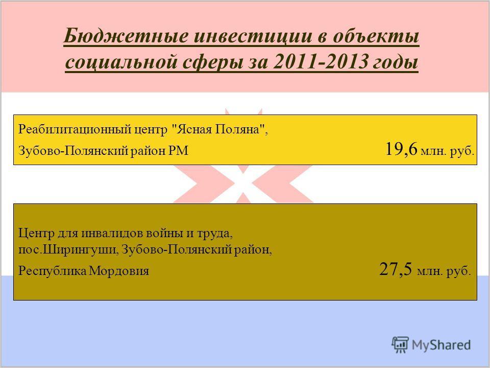 Бюджетные инвестиции в объекты социальной сферы за 2011-2013 годы Реабилитационный центр