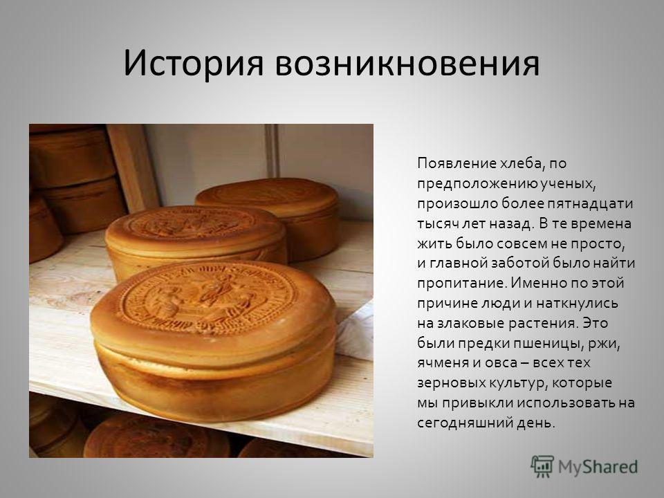 История возникновения Появление хлеба, по предположению ученых, произошло более пятнадцати тысяч лет назад. В те времена жить было совсем не просто, и главной заботой было найти пропитание. Именно по этой причине люди и наткнулись на злаковые растени
