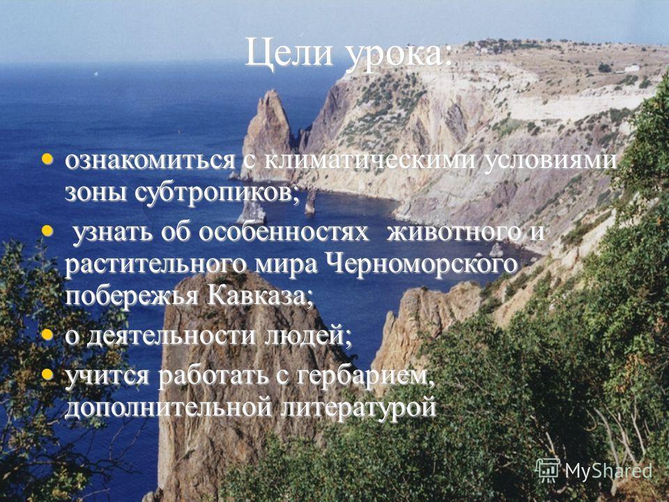 Цели урока: ознакомиться с климатическими условиями зоны субтропиков; ознакомиться с климатическими условиями зоны субтропиков; узнать об особенностях животного и растительного мира Черноморского побережья Кавказа; узнать об особенностях животного и