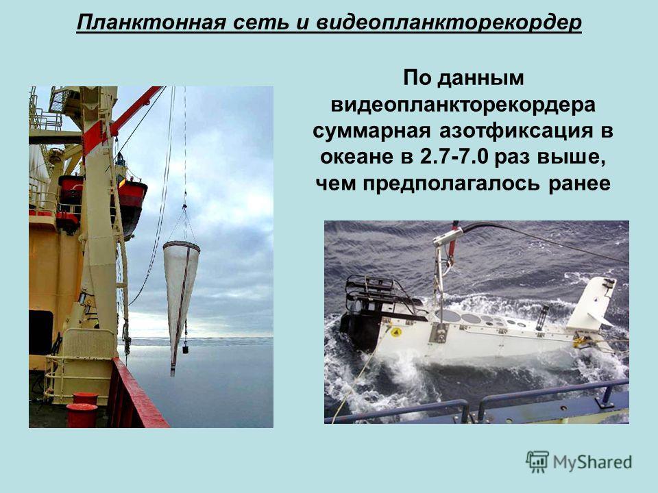 Планктонная сеть и видеопланкторекордер По данным видеопланкторекордера суммарная азотфиксация в океане в 2.7-7.0 раз выше, чем предполагалось ранее