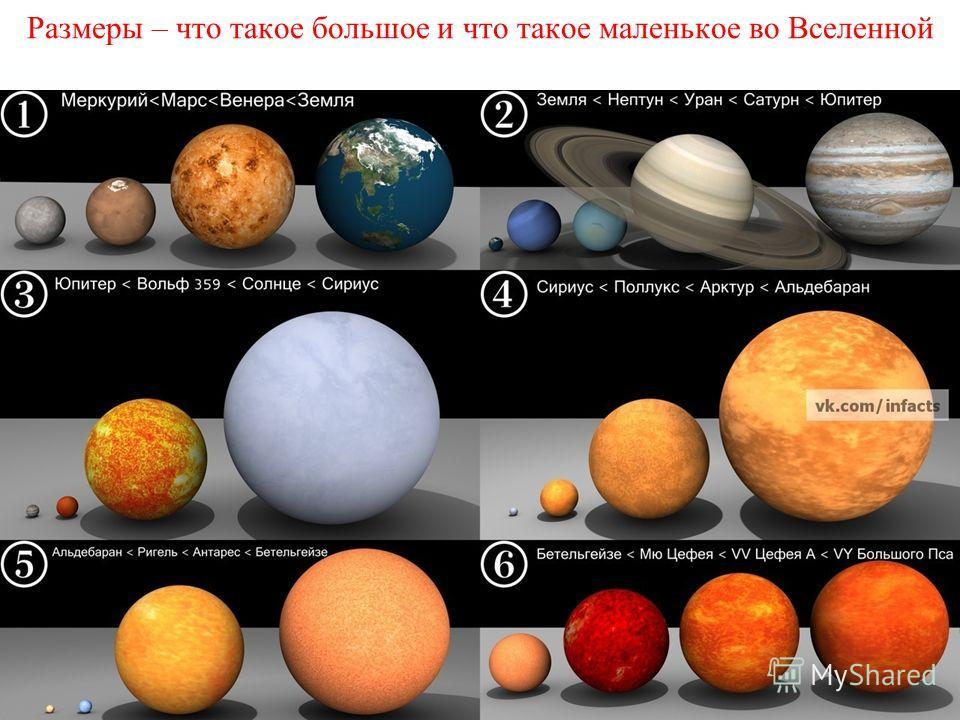 Размеры – что такое большое и что такое маленькое во Вселенной
