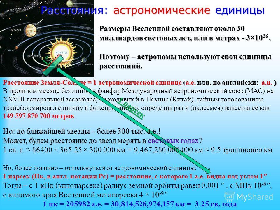 Расстояния: астрономические единицы Размеры Вселенной составляют около 30 миллиардов световых лет, или в метрах - 3×10 26. Поэтому – астрономы используют свои единицы расстояний. Расстояние Земля-Солнце = 1 астрономической единице (а.е. или, по англи