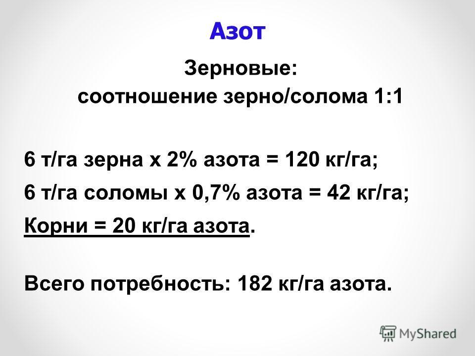 Азот Зерновые: соотношение зерно/солома 1:1 6 т/га зерна х 2% азота = 120 кг/га; 6 т/га соломы х 0,7% азота = 42 кг/га; Корни = 20 кг/га азота. Всего потребность: 182 кг/га азота.