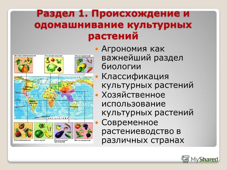 Раздел 1. Происхождение и одомашнивание культурных растений Агрономия как важнейший раздел биологии Классификация культурных растений Хозяйственное использование культурных растений Современное растениеводство в различных странах назад