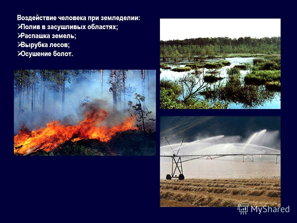 Воздействие человека при земледелии: Полив в засушливых областях; Распашка земель; Вырубка лесов; Осушение болот.