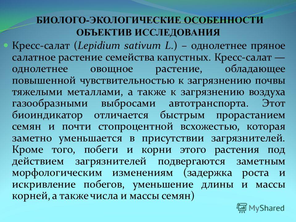 БИОЛОГО-ЭКОЛОГИЧЕСКИЕ ОСОБЕННОСТИ ОБЪЕКТИВ ИССЛЕДОВАНИЯ Кресс-салат (Lepidium sativum L.) – однолетнее пряное салатное растение семейства капустных. Кресс-салат однолетнее овощное растение, обладающее повышенной чувствительностью к загрязнению почвы