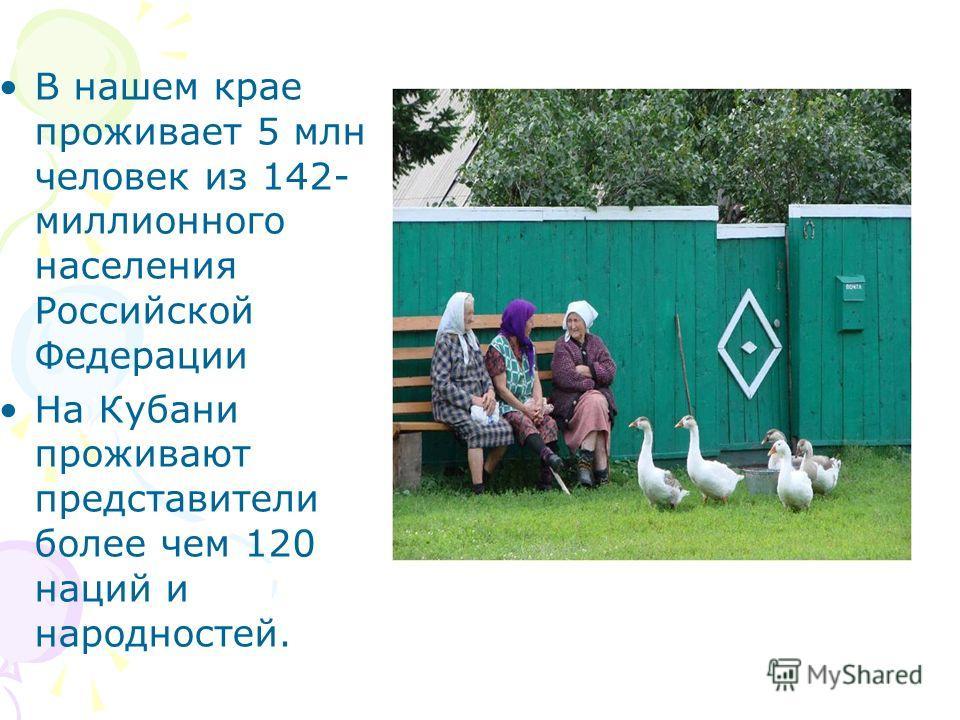 В нашем крае проживает 5 млн человек из 142- миллионного населения Российской Федерации На Кубани проживают представители более чем 120 наций и народностей.