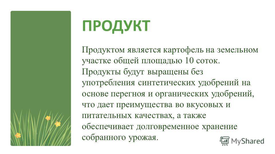 ПРОДУКТ Продуктом является картофель на земельном участке общей площадью 10 соток. Продукты будут выращены без употребления синтетических удобрений на основе перегноя и органических удобрений, что дает преимущества во вкусовых и питательных качествах