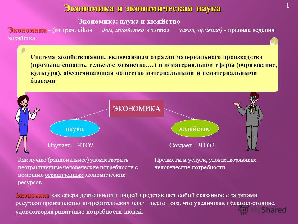 1 Экономика и экономическая наука Экономика : наука и хозяйство Экономика Экономика - ( от греч. éikos дом, хозяйство и nomos закон, правило ) - правила ведения хозяйства Система хозяйствования, включающая отрасли материального производства ( промышл