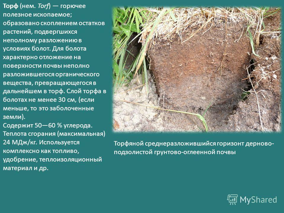 Торф (нем. Torf) горючее полезное ископаемое; образовано скоплением остатков растений, подвергшихся неполному разложению в условиях болот. Для болота характерно отложение на поверхности почвы неполно разложившегося органического вещества, превращающе