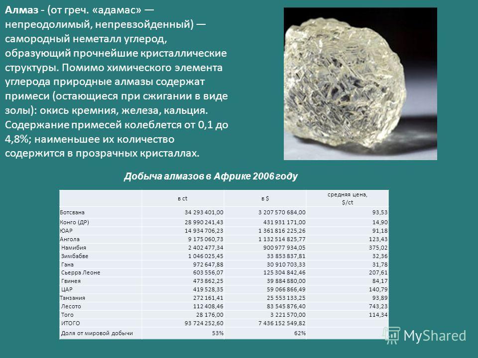 Алмаз - (от греч. «адамас» непреодолимый, непревзойденный) самородный неметалл углерод, образующий прочнейшие кристаллические структуры. Помимо химического элемента углерода природные алмазы содержат примеси (остающиеся при сжигании в виде золы): оки