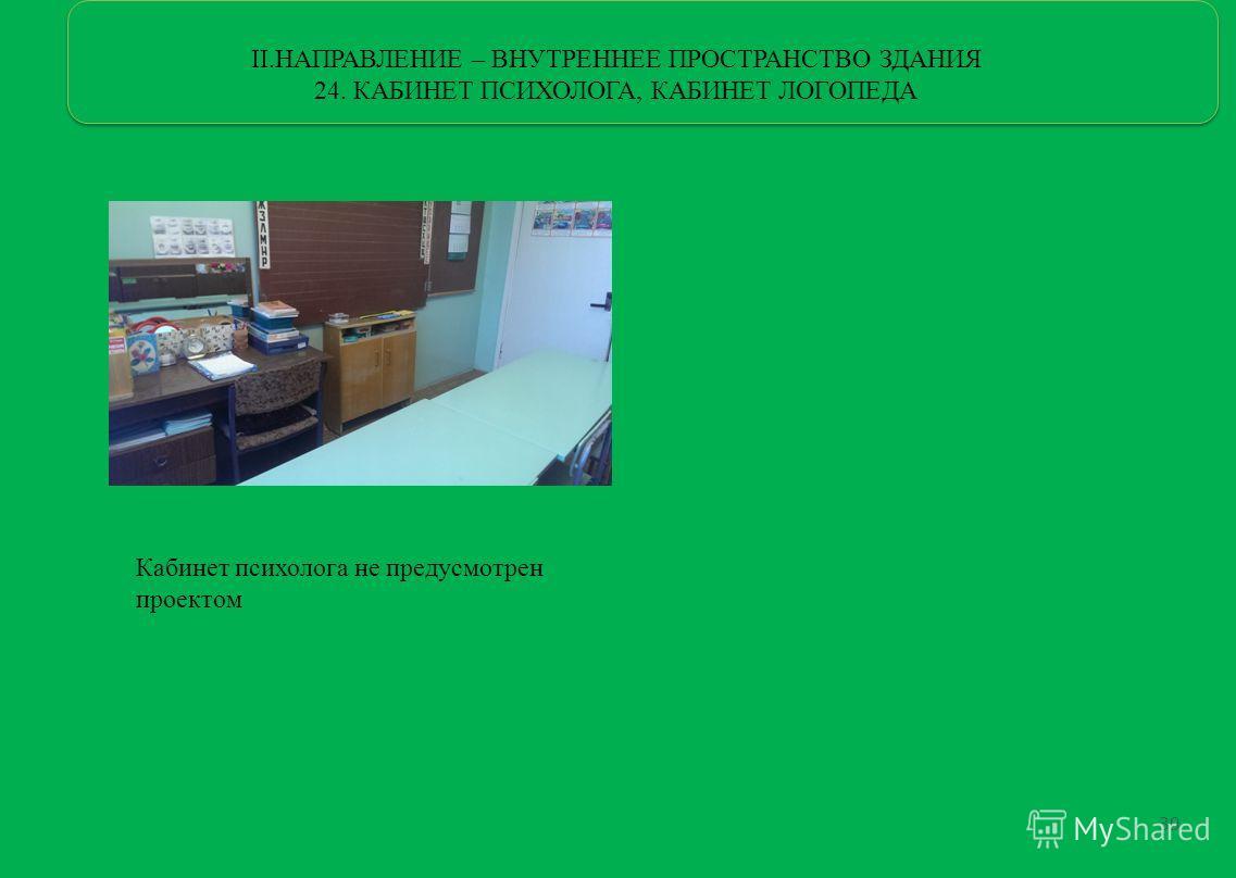 II.НАПРАВЛЕНИЕ – ВНУТРЕННЕЕ ПРОСТРАНСТВО ЗДАНИЯ 24. КАБИНЕТ ПСИХОЛОГА, КАБИНЕТ ЛОГОПЕДА Кабинет психолога не предусмотрен проектом 39