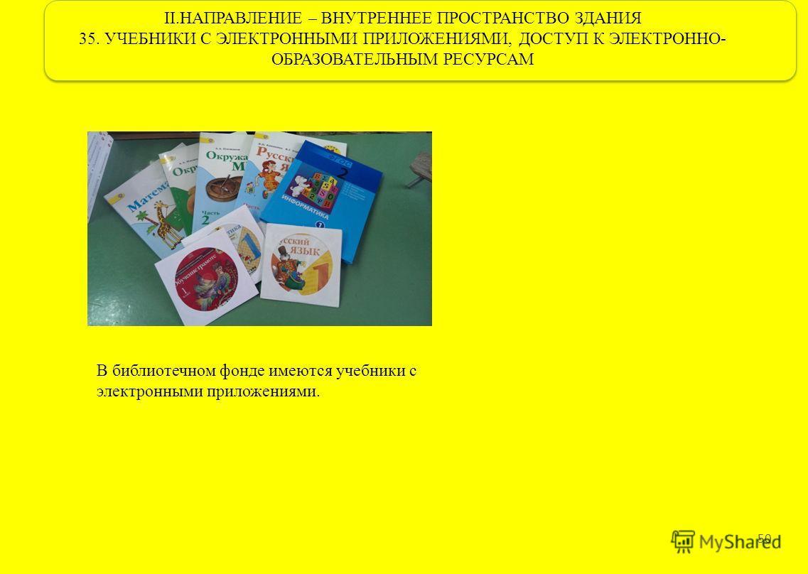 II.НАПРАВЛЕНИЕ – ВНУТРЕННЕЕ ПРОСТРАНСТВО ЗДАНИЯ 35. УЧЕБНИКИ С ЭЛЕКТРОННЫМИ ПРИЛОЖЕНИЯМИ, ДОСТУП К ЭЛЕКТРОННО- ОБРАЗОВАТЕЛЬНЫМ РЕСУРСАМ 50 В библиотечном фонде имеются учебники с электронными приложениями.