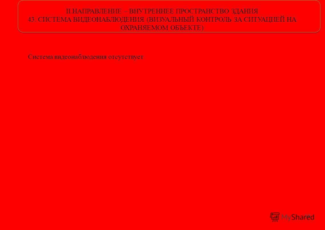 II.НАПРАВЛЕНИЕ – ВНУТРЕННЕЕ ПРОСТРАНСТВО ЗДАНИЯ 43. СИСТЕМА ВИДЕОНАБЛЮДЕНИЯ (ВИЗУАЛЬНЫЙ КОНТРОЛЬ ЗА СИТУАЦИЕЙ НА ОХРАНЯЕМОМ ОБЪЕКТЕ) 58 Система видеонаблюдения отсутствует