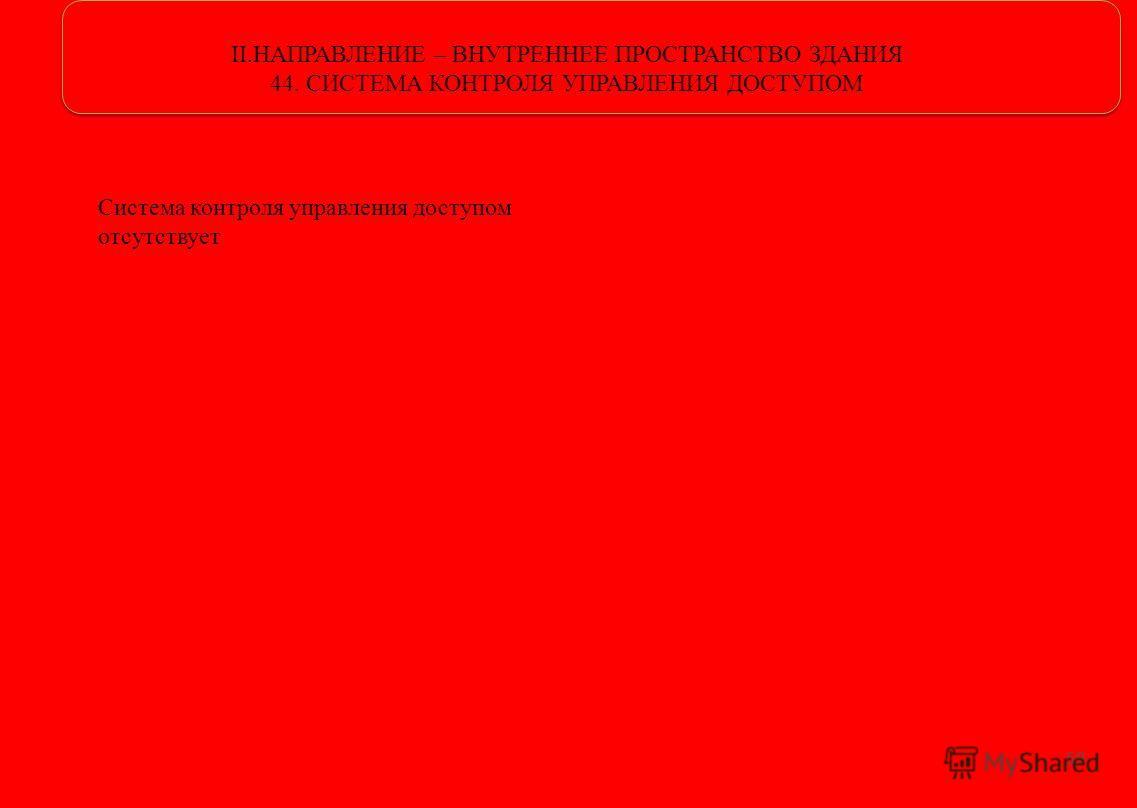 II.НАПРАВЛЕНИЕ – ВНУТРЕННЕЕ ПРОСТРАНСТВО ЗДАНИЯ 44. СИСТЕМА КОНТРОЛЯ УПРАВЛЕНИЯ ДОСТУПОМ 59 Система контроля управления доступом отсутствует