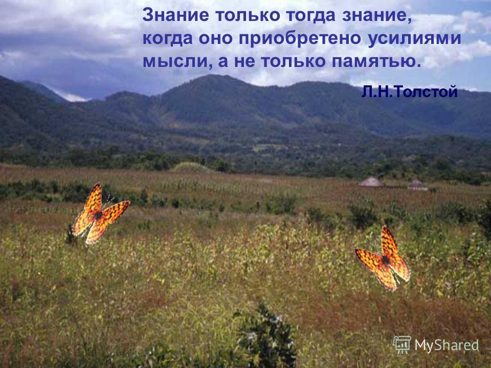 Знание только тогда знание, когда оно приобретено усилиями мысли, а не только памятью. Л.Н.Толстой