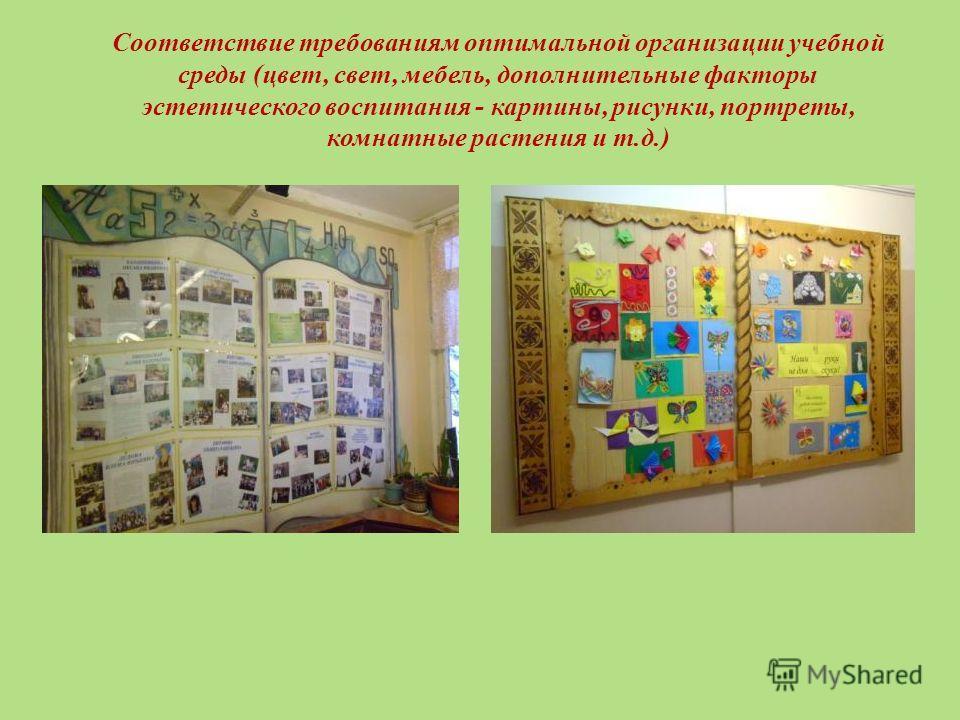 Соответствие требованиям оптимальной организации учебной среды (цвет, свет, мебель, дополнительные факторы эстетического воспитания - картины, рисунки, портреты, комнатные растения и т.д.)