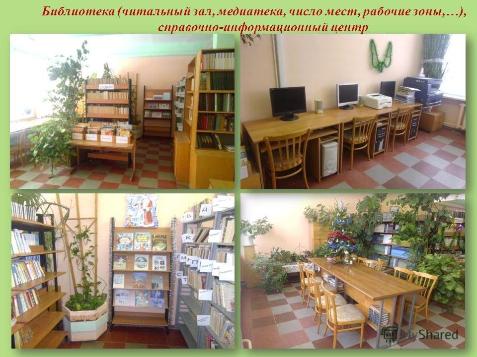 Библиотека (читальный зал, медиатека, число мест, рабочие зоны,…), справочно-информационный центр