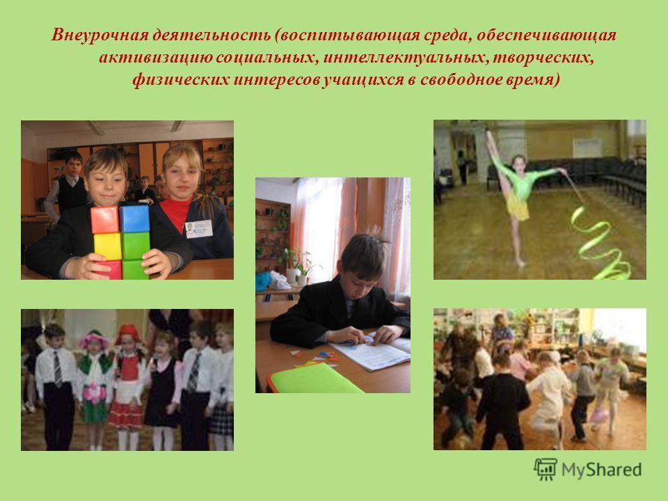Внеурочная деятельность (воспитывающая среда, обеспечивающая активизацию социальных, интеллектуальных, творческих, физических интересов учащихся в свободное время)