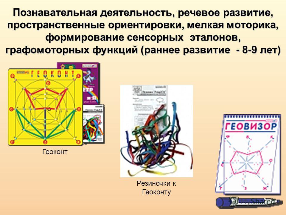 Познавательная деятельность, речевое развитие, пространственные ориентировки, мелкая моторика, формирование сенсорных эталонов, графомоторных функций (раннее развитие - 8-9 лет) Геоконт Резиночки к Геоконту