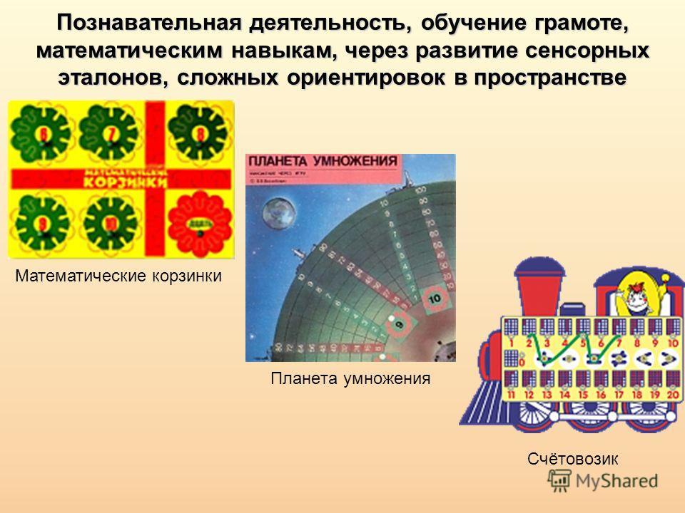 Познавательная деятельность, обучение грамоте, математическим навыкам, через развитие сенсорных эталонов, сложных ориентировок в пространстве Планета умножения Математические корзинки Счётовозик