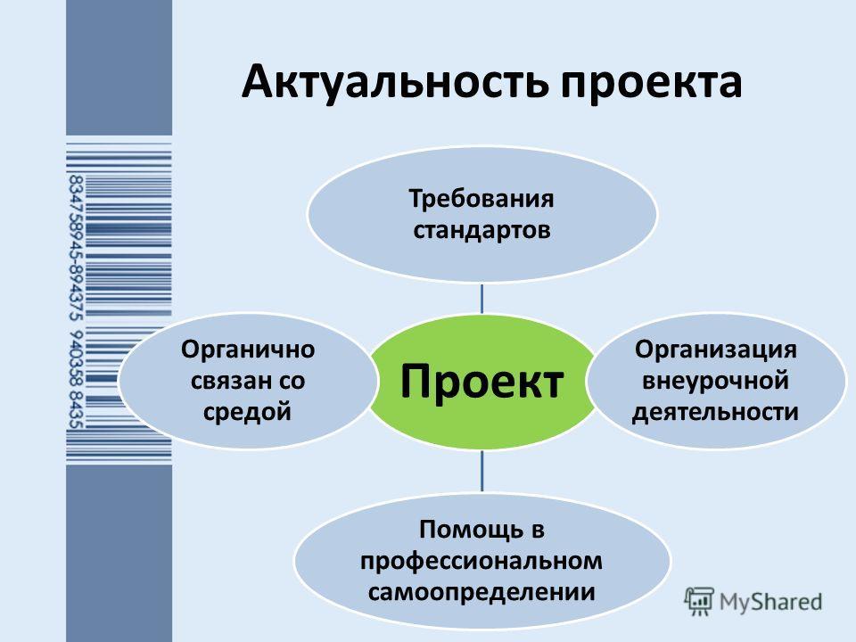 Актуальность проекта Проект Требования стандартов Организация внеурочной деятельности Помощь в профессиональном самоопределении Органично связан со средой