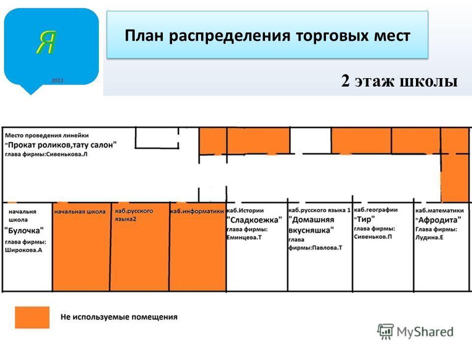 2 этаж школы План распределения торговых мест