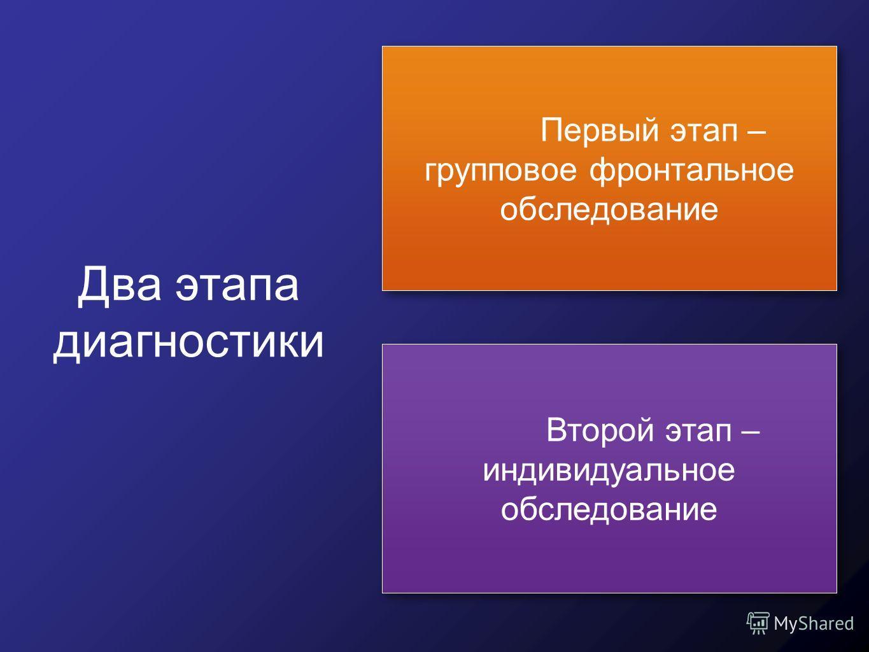 Два этапа диагностики Первый этап – групповое фронтальное обследование Второй этап – индивидуальное обследование