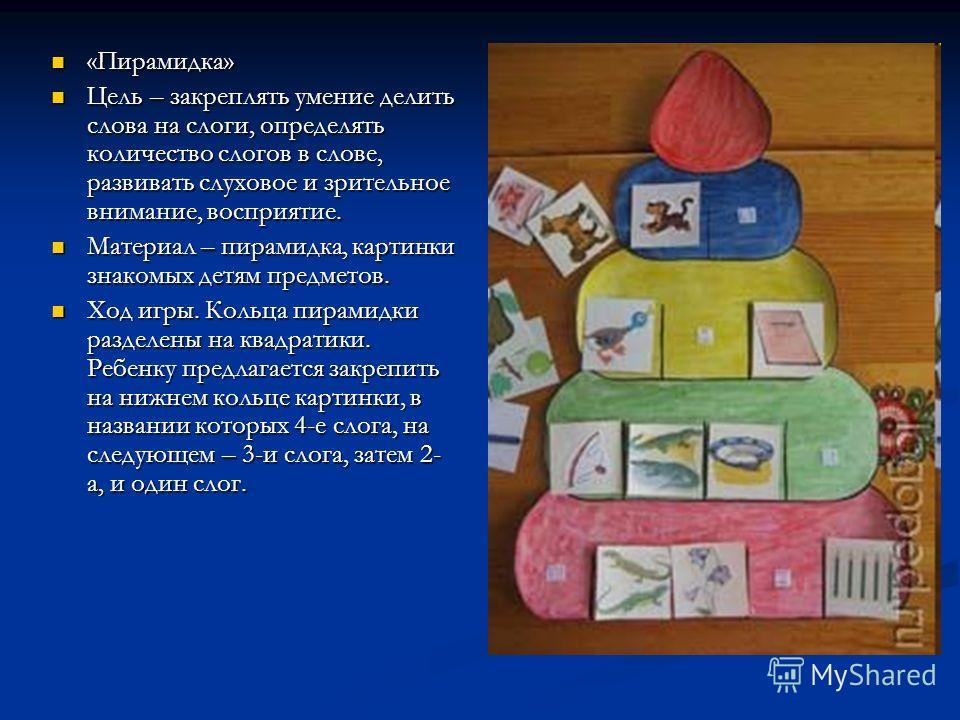«Пирамидка» «Пирамидка» Цель – закреплять умение делить слова на слоги, определять количество слогов в слове, развивать слуховое и зрительное внимание, восприятие. Цель – закреплять умение делить слова на слоги, определять количество слогов в слове,