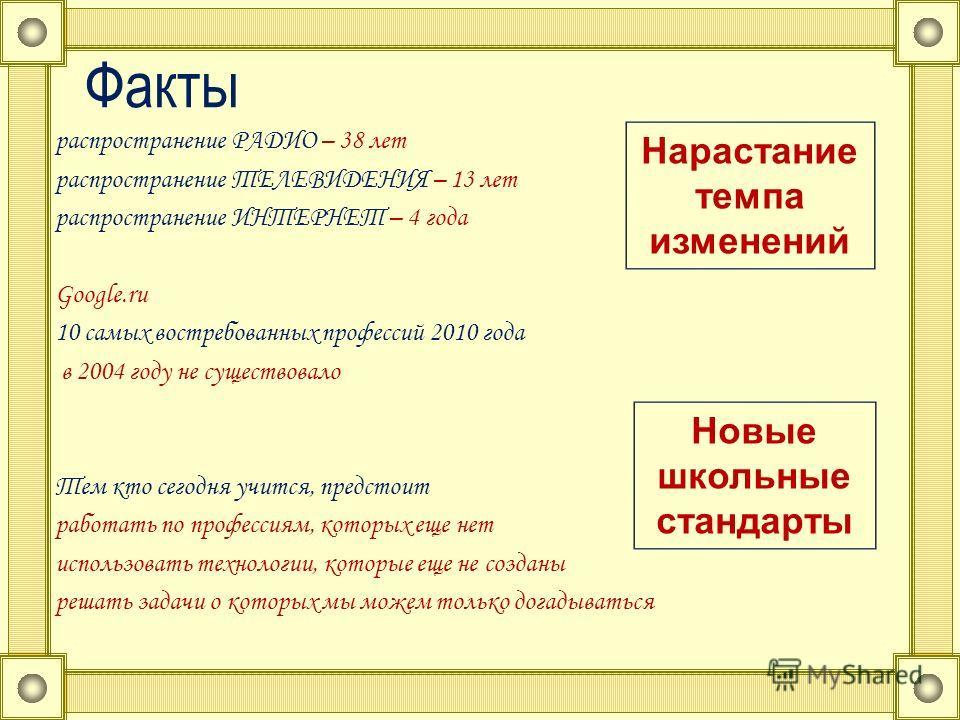 Факты распространение РАДИО – 38 лет распространение ТЕЛЕВИДЕНИЯ – 13 лет распространение ИНТЕРНЕТ – 4 года Google.ru 10 самых востребованных профессий 2010 года в 2004 году не существовало Тем кто сегодня учится, предстоит работать по профессиям, ко