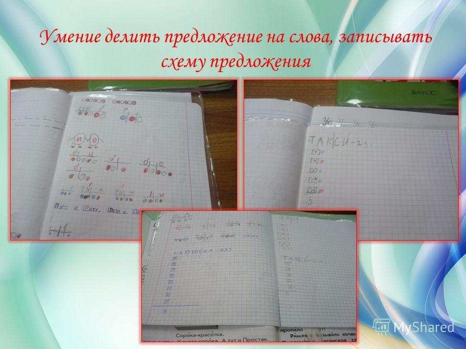 Умение делить предложение на слова, записывать схему предложения