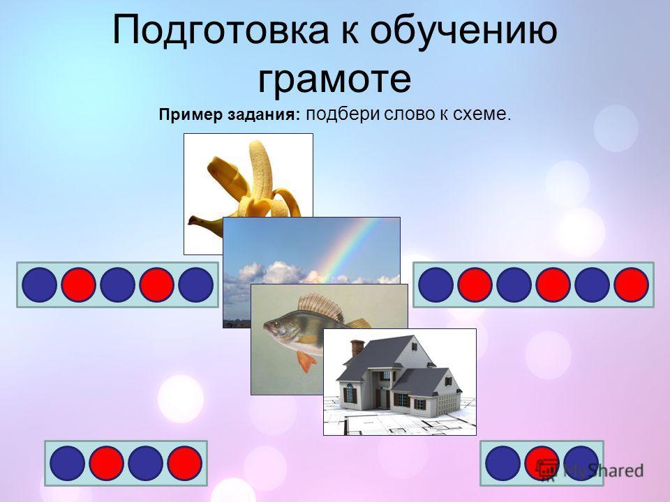 Подготовка к обучению грамоте Пример задания: подбери слово к схеме.