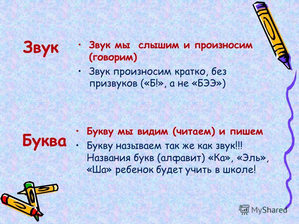 Звук Звук мы слышим и произносим (говорим) Звук произносим кратко, без призвуков («Б!», а не «БЭЭ») Буква Букву мы видим (читаем) и пишем Букву называем так же как звук!!! Названия букв (алфавит) «Ка», «Эль», «Ша» ребенок будет учить в школе!