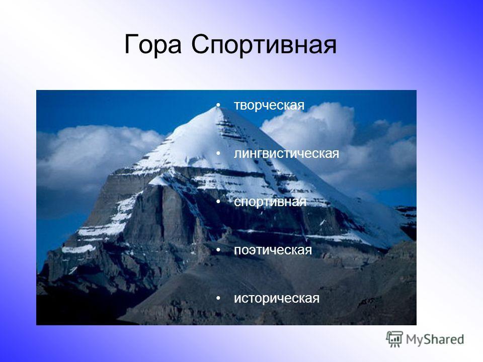 Гора Спортивная творческая лингвистическая спортивная поэтическая историческая