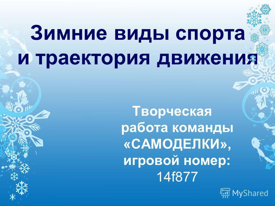 Зимние виды спорта и траектория движения Творческая работа команды «САМОДЕЛКИ», игровой номер: 14f877