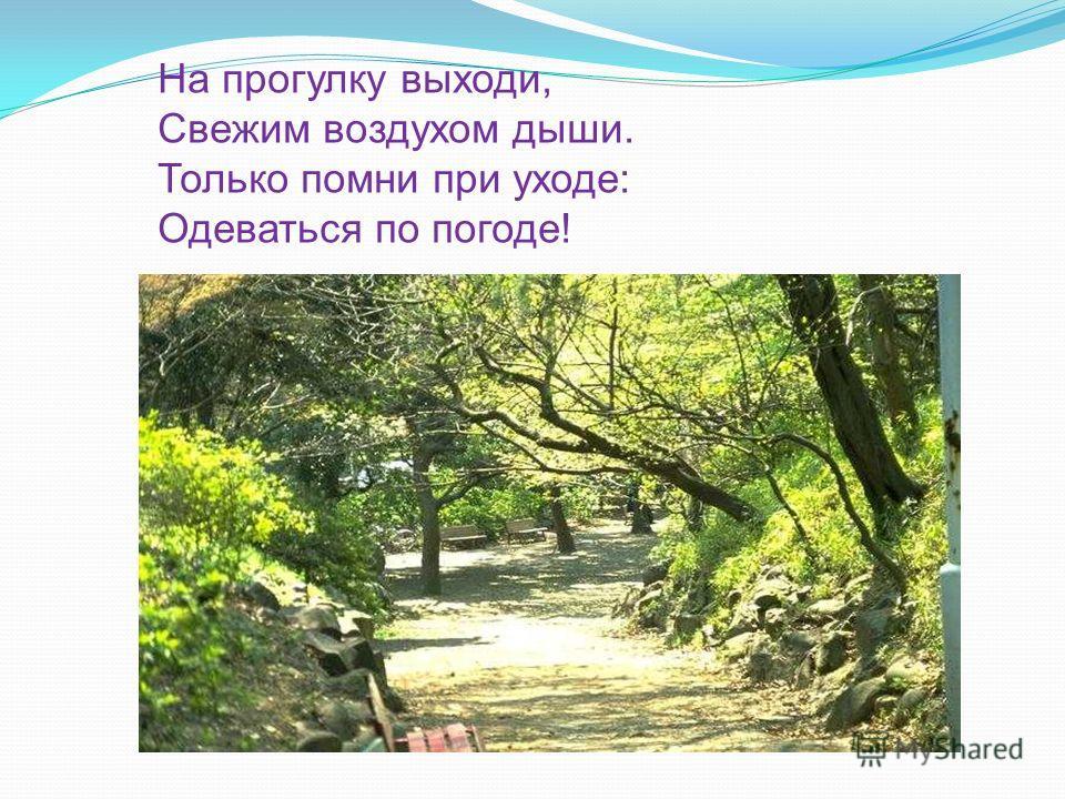 На прогулку выходи, Свежим воздухом дыши. Только помни при уходе: Одеваться по погоде!