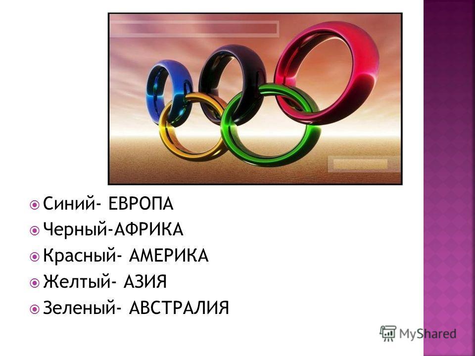 Синий- ЕВРОПА Черный-АФРИКА Красный- АМЕРИКА Желтый- АЗИЯ Зеленый- АВСТРАЛИЯ