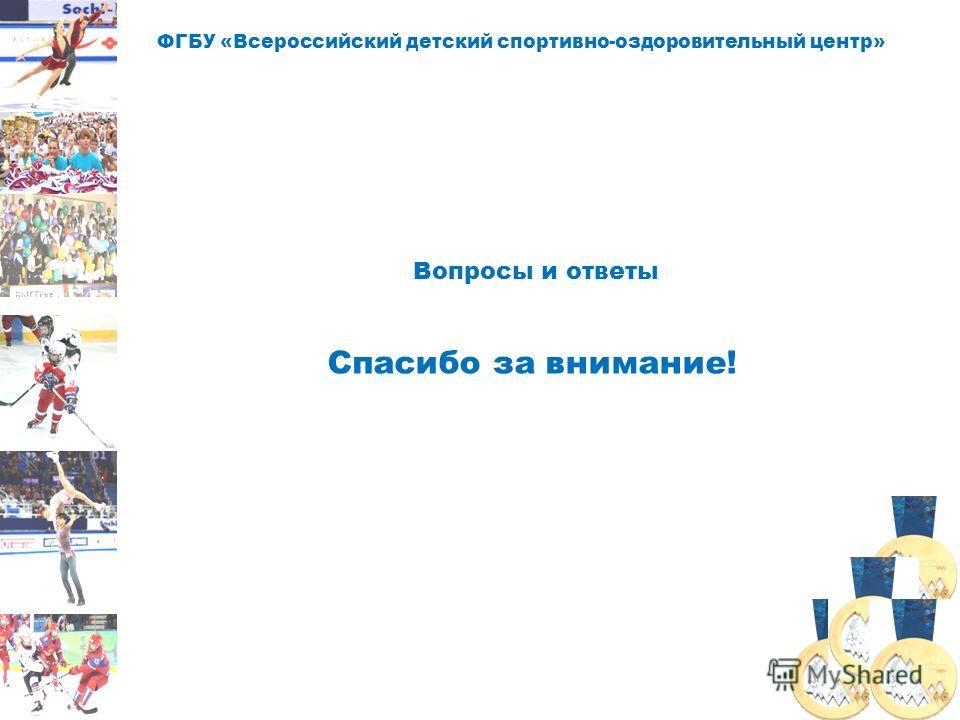 ФГБУ «Всероссийский детский спортивно-оздоровительный центр» Вопросы и ответы Спасибо за внимание!