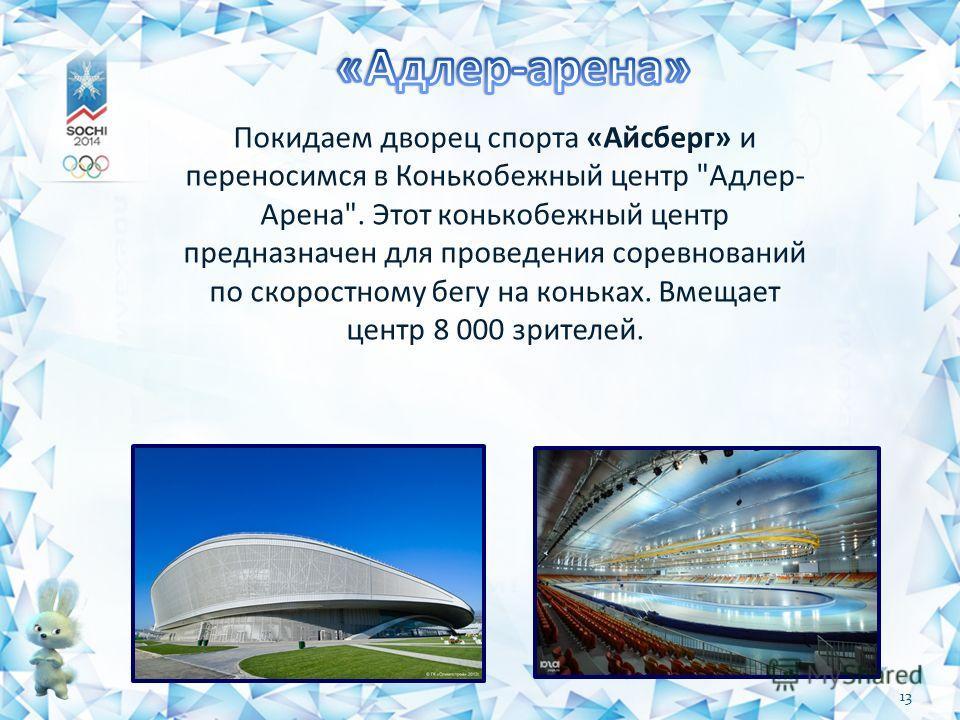 Покидаем дворец спорта «Айсберг» и переносимся в Конькобежный центр Адлер- Арена. Этот конькобежный центр предназначен для проведения соревнований по скоростному бегу на коньках. Вмещает центр 8 000 зрителей. 13